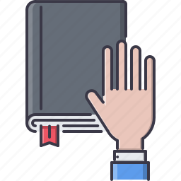 book, court, hand, jurisprudence, law, police icon