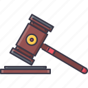 court, hammer, judge, jurisprudence, law, police icon