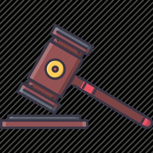 court, hammer, judge, jurisprudence, law, police icon