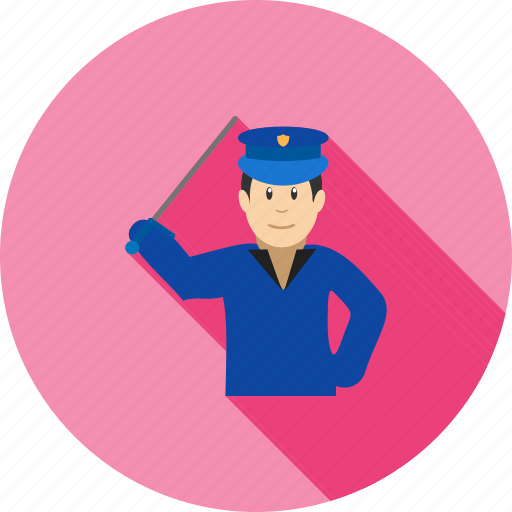 armed, crime, holding, law, officer, police, stick icon
