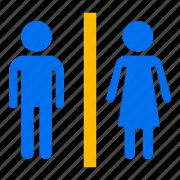bathroom, bowl, man, restroom, toilet, wc, woman icon