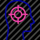 brain, focus, head icon, mind, mind focus, thinking, thought icon