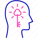 head, human, invention, key, mind, solution, thinking icon icon