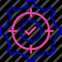 check, configuration, gear, setting, stretch goals, support icon icon