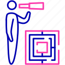 business, clear vision, labyrinth, maze, opportunity, strategy icon icon