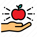 apple, knowledge, learning, education, hand