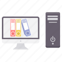 computer, data, device, document, folder, laptop, monitor icon