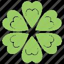 lucky clover, lucky flower, shamrock plant, six-leaf clover, trefoil plant icon