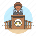 2, 3, case, courthouse, courtroom, judge, legal, magistrate, male, podium, trial icon