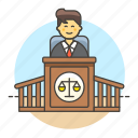 2, case, courthouse, courtroom, judge, legal, magistrate, male, podium, trial icon