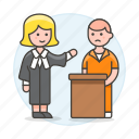 1, convict, court, courthouse, female, interrogate, justice, lawyer, legal, of, palace icon