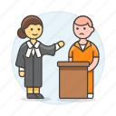 2, convict, court, courthouse, female, interrogate, justice, lawyer, legal, of, palace icon