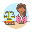 attorney, barrister, counsel, courtroom, female, gavel, lawyer, legal, trial icon