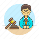 attorney, barrister, counsel, courtroom, gavel, lawyer, legal, male, trial icon