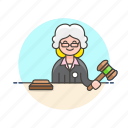 court, decision, hammer, judge, justice, law, legal, woman icon