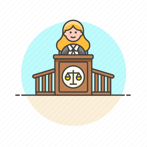 court, decision, judge, justice, law, legal, scale, woman icon