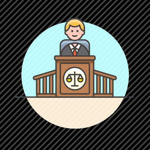 court, decision, judge, justice, law, legal, man, scale icon