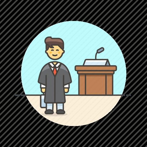 court, decision, juror, jury, law, legal, man icon