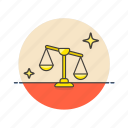 balance, equality, government, justice, law, legal, scale icon