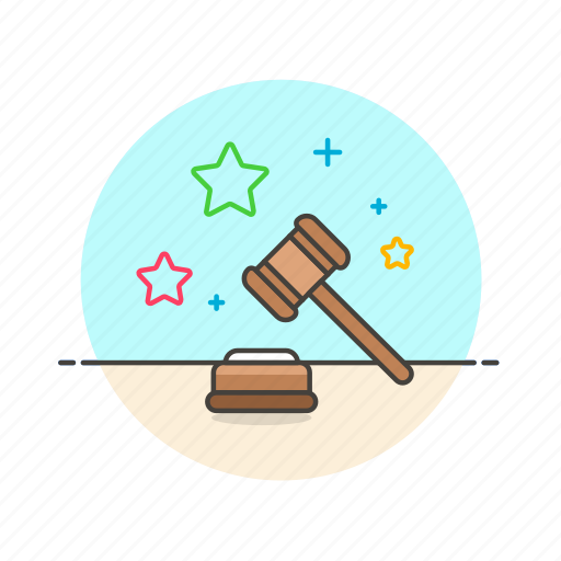 court, decision, hammer, judge, justice, law, legal, rule icon