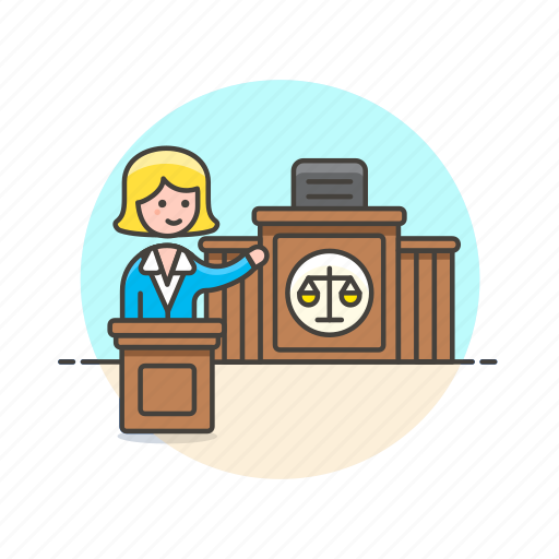 attorney, court, justice, law, lawyer, legal, scale, woman icon