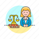 books, court, justice, law, lawyer, legal, scale, woman icon