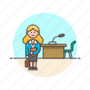 attorney, court, desk, law, lawyer, legal, woman icon