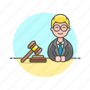 court, decision, hammer, judge, justice, law, legal, man icon