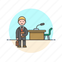 attorney, court, desk, law, lawyer, legal, man icon