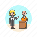 attorney, court, defendant, law, lawyer, legal, prisoner, sentence icon