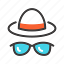 beach, glasses, hat, holiday, spectacles, summer, sunglasses icon