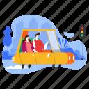 transportation, drive, a, car, man, woman