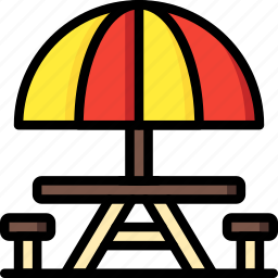 leisure, park, picnic, table icon