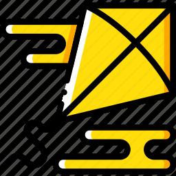 hobby, kite, leisure, yellow icon
