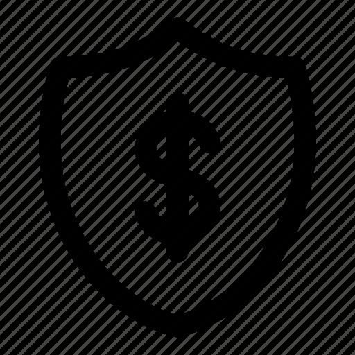 fund, monetary, money, protection, shield icon