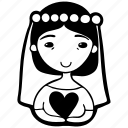 avatar, bride, face, heart, love, person, woman