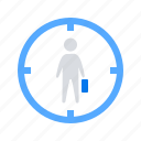 aim, employee, search, target icon