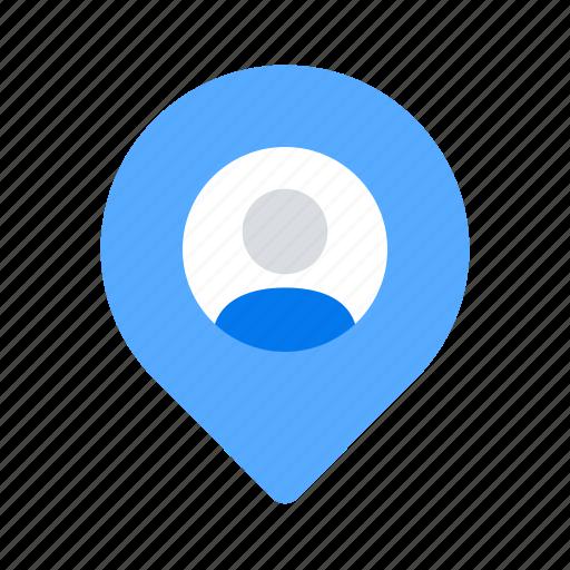 location, man, pin icon