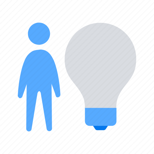 bulb, idea, man icon