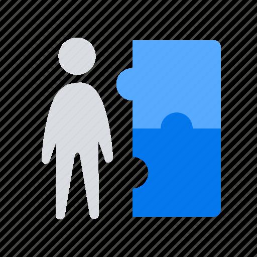 man, puzzle, teamwork icon