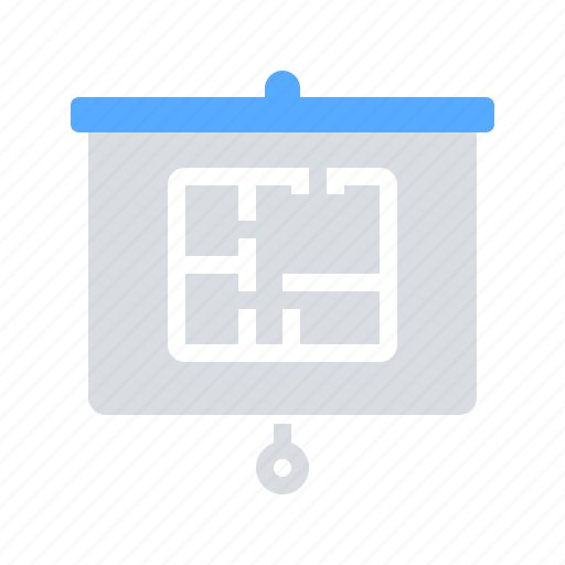 blackboard, house, presentation icon