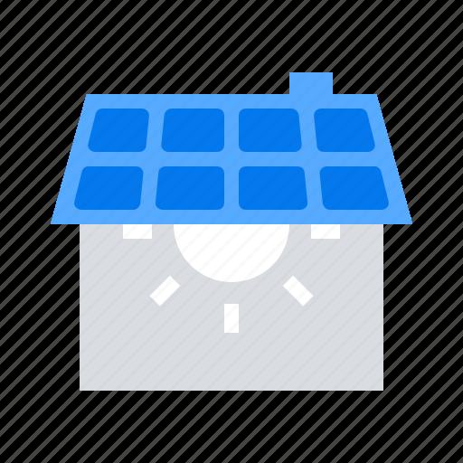ecology, house, panel, solar icon