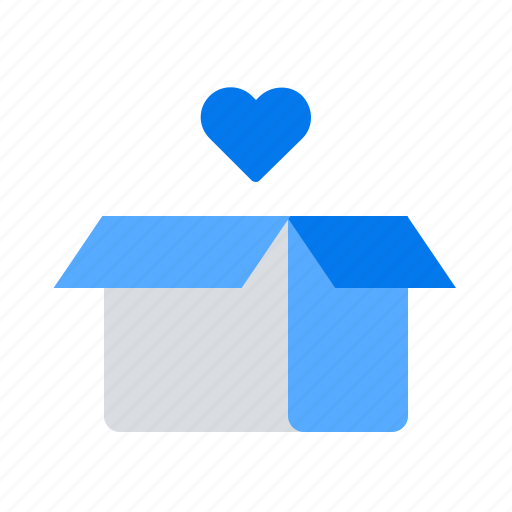 box, charity, donation, heart icon
