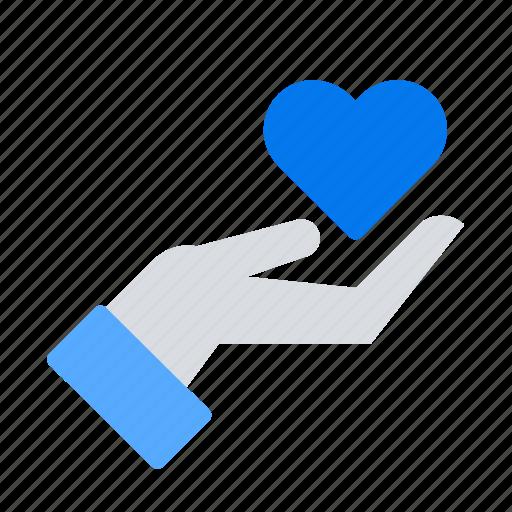 charity, donation, hand, heart icon