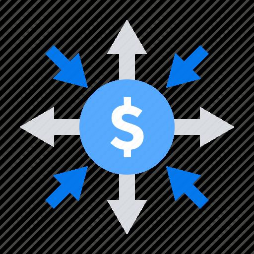 affiliate, flow, investment, money icon