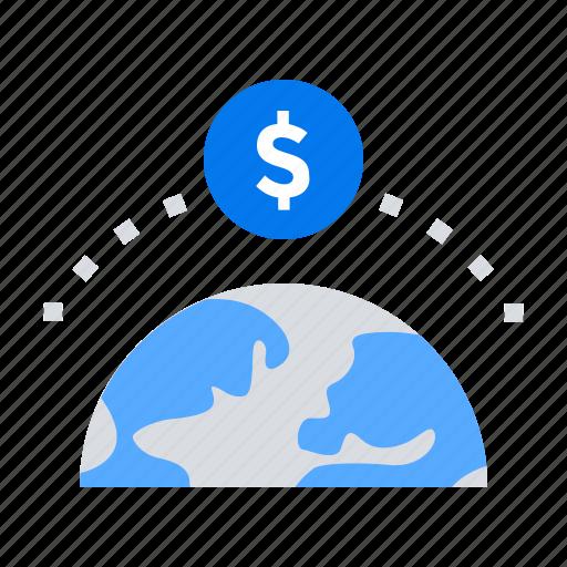 fundrising, global, money, world icon