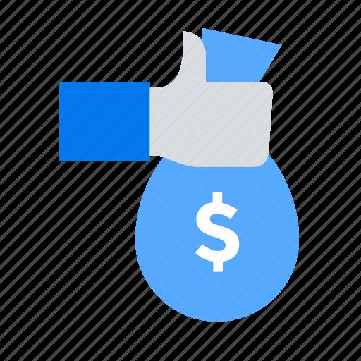 hand, investment, money bag icon