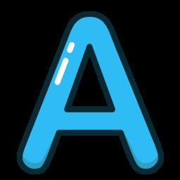 a, alphabet, blue, letter, letters icon