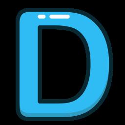 alphabet, blue, d, letter, letters icon