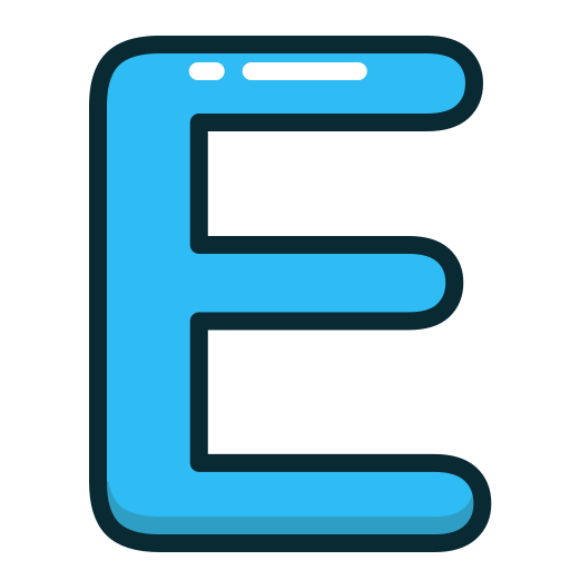 alphabet, blue, e, letter, letters icon